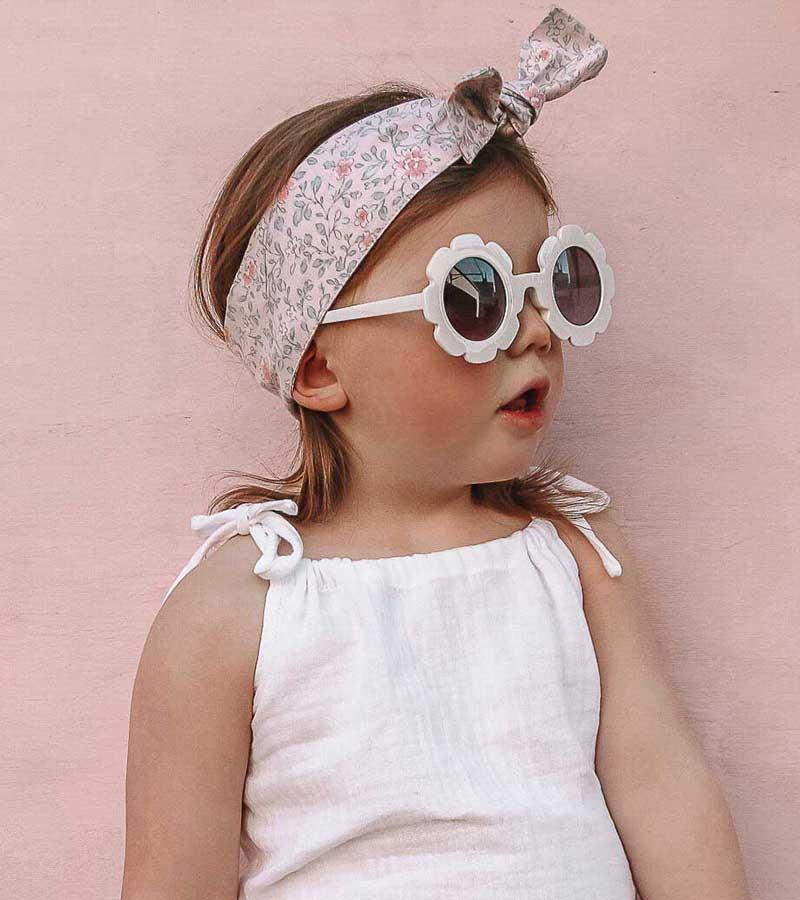 Girls White Flower Child Sunglasses