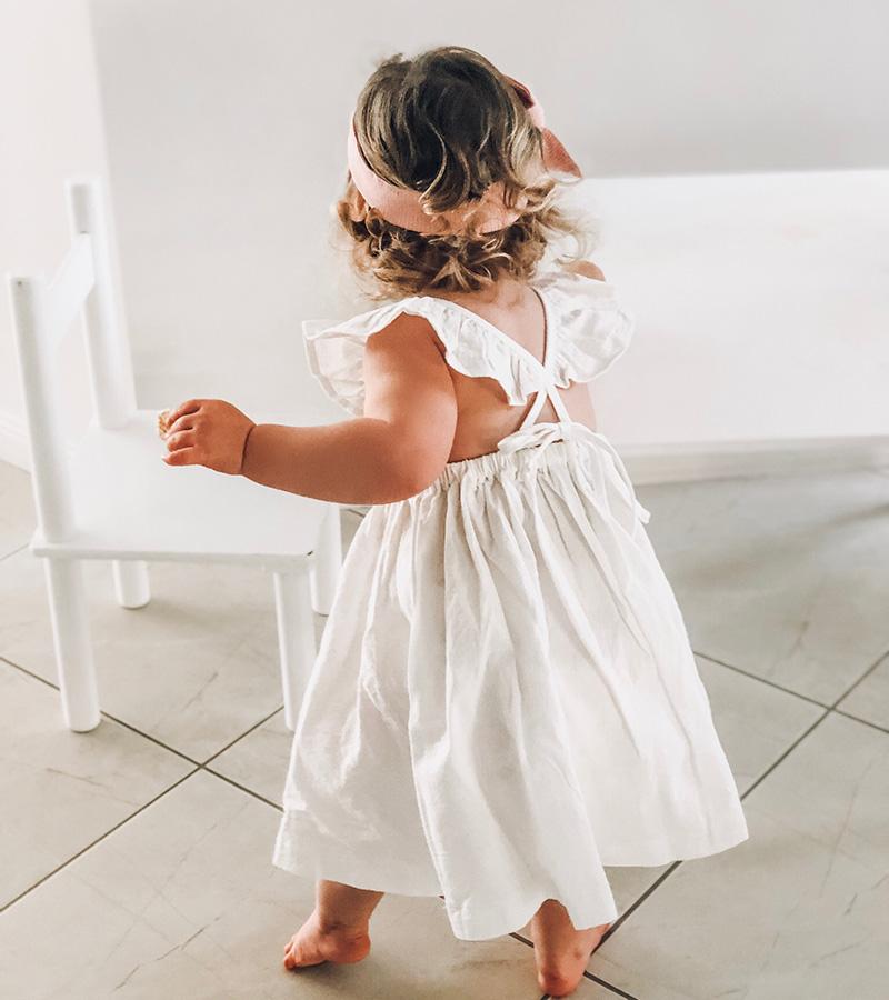 Girls Valerie White Linen Ruffle Dress